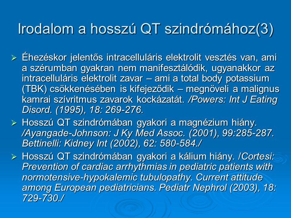 Irodalom a hosszú QT szindrómához(3)  Éhezéskor jelentős intracelluláris elektrolit vesztés van, ami a szérumban gyakran nem manifesztálódik, ugyanak