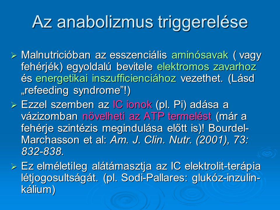 Az anabolizmus triggerelése  Malnutricióban az esszenciális aminósavak ( vagy fehérjék) egyoldalú bevitele elektromos zavarhoz és energetikai inszuff
