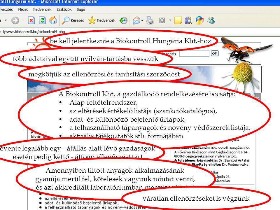 """4. mítosz: """"Átverés!"""" be kell jelentkeznie a Biokontroll Hungária Kht.-hoz főbb adataival együtt nyilván-tartásba vesszük megkötjük az ellenőrzési és"""