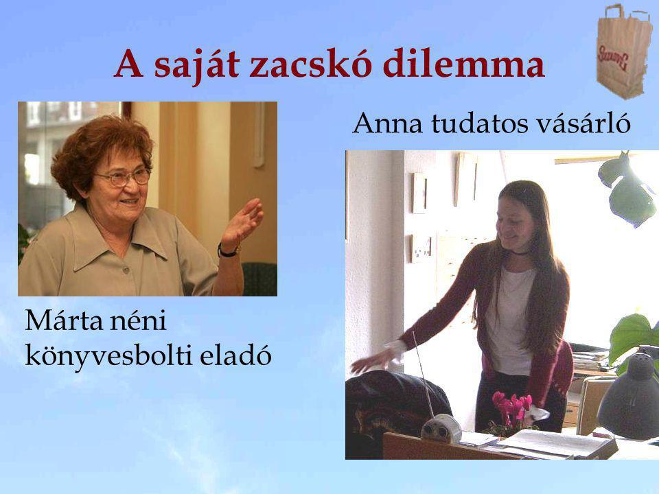 A saját zacskó dilemma Márta néni könyvesbolti eladó Anna tudatos vásárló