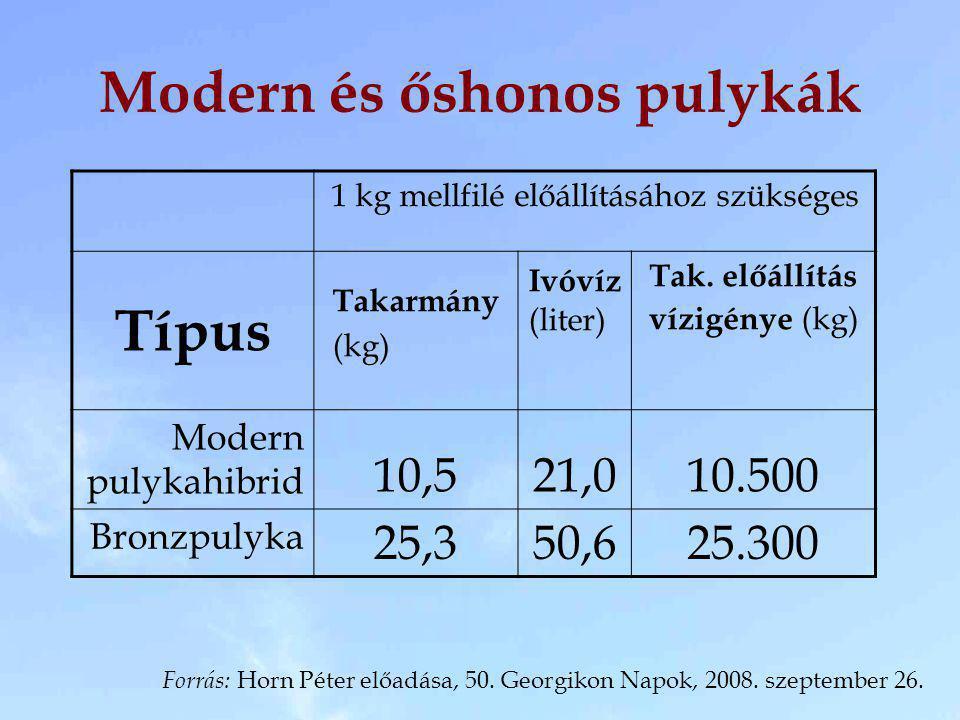 Modern és őshonos pulykák 1 kg mellfilé előállításához szükséges Típus Takarmány (kg) Ivóvíz (liter) Tak. előállítás vízigénye (kg) Modern pulykahibri