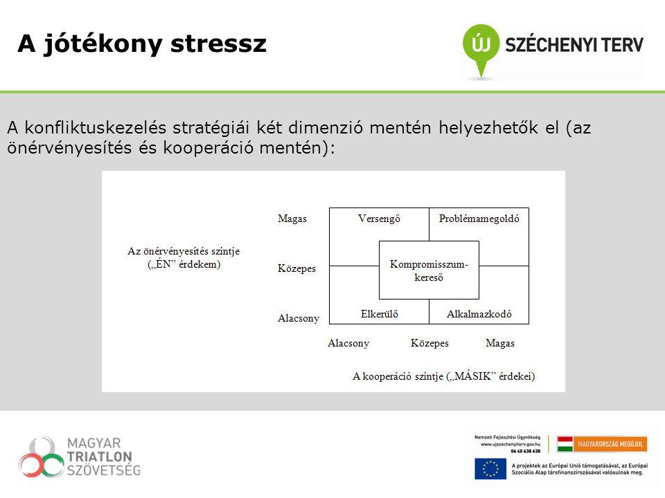 A konfliktuskezelés stratégiái két dimenzió mentén helyezhetők el (az önérvényesítés és kooperáció mentén): A jótékony stressz