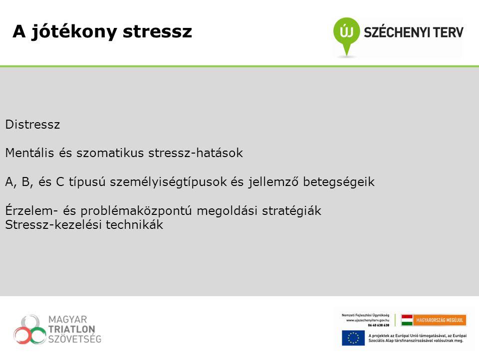 Distressz Mentális és szomatikus stressz-hatások A, B, és C típusú személyiségtípusok és jellemző betegségeik Érzelem- és problémaközpontú megoldási s