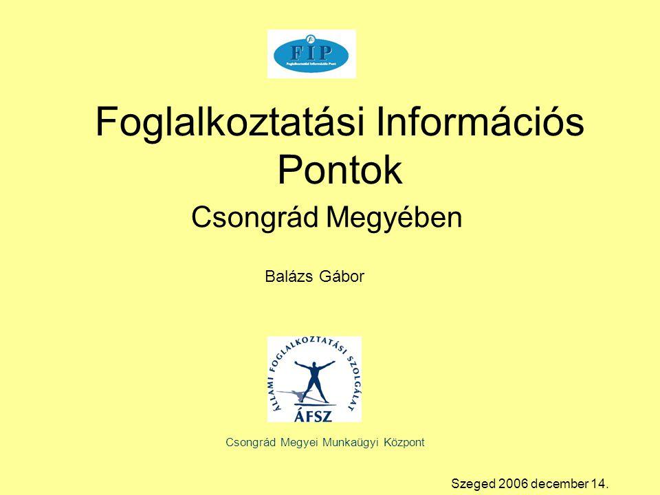 Csongrád Megyében Foglalkoztatási Információs Pontok Csongrád Megyei Munkaügyi Központ Balázs Gábor Szeged 2006 december 14.