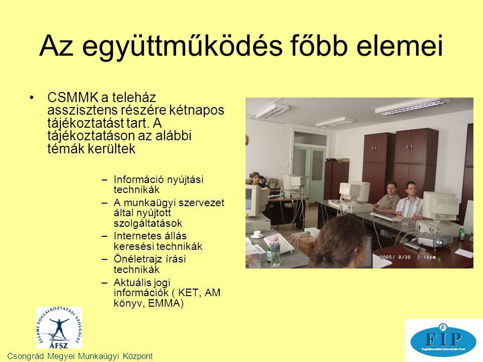 CSMMK a teleház asszisztens részére kétnapos tájékoztatást tart. A tájékoztatáson az alábbi témák kerültek –Információ nyújtási technikák –A munkaügyi