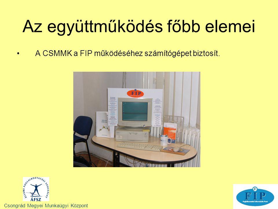 Az együttműködés főbb elemei A CSMMK a FIP működéséhez számítógépet biztosít. Csongrád Megyei Munkaügyi Központ