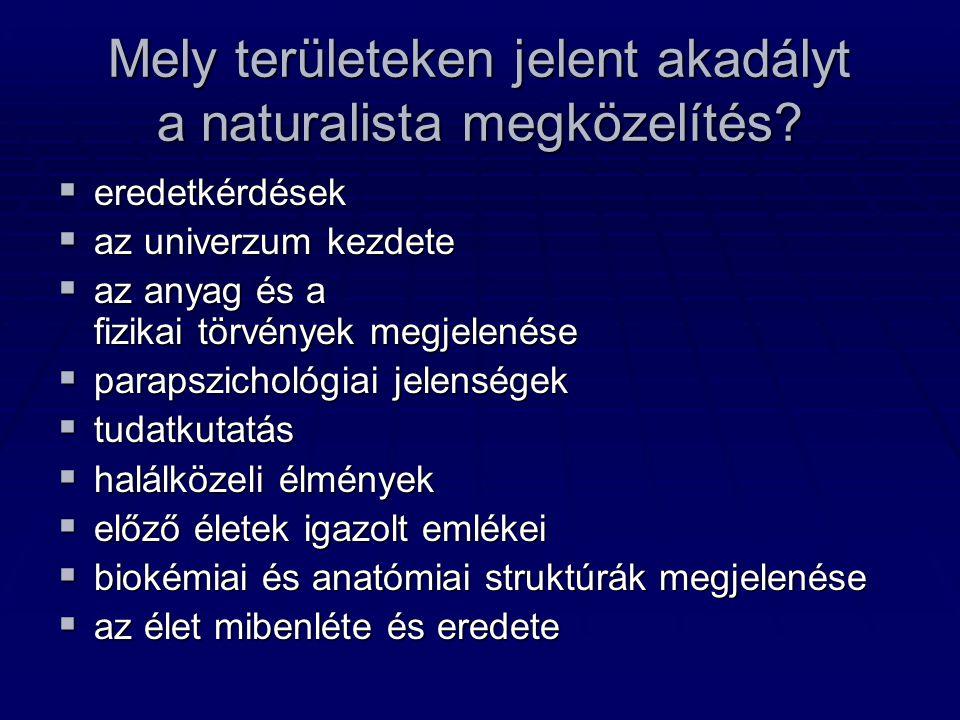 Mely területeken jelent akadályt a naturalista megközelítés?  eredetkérdések  az univerzum kezdete  az anyag és a fizikai törvények megjelenése  p