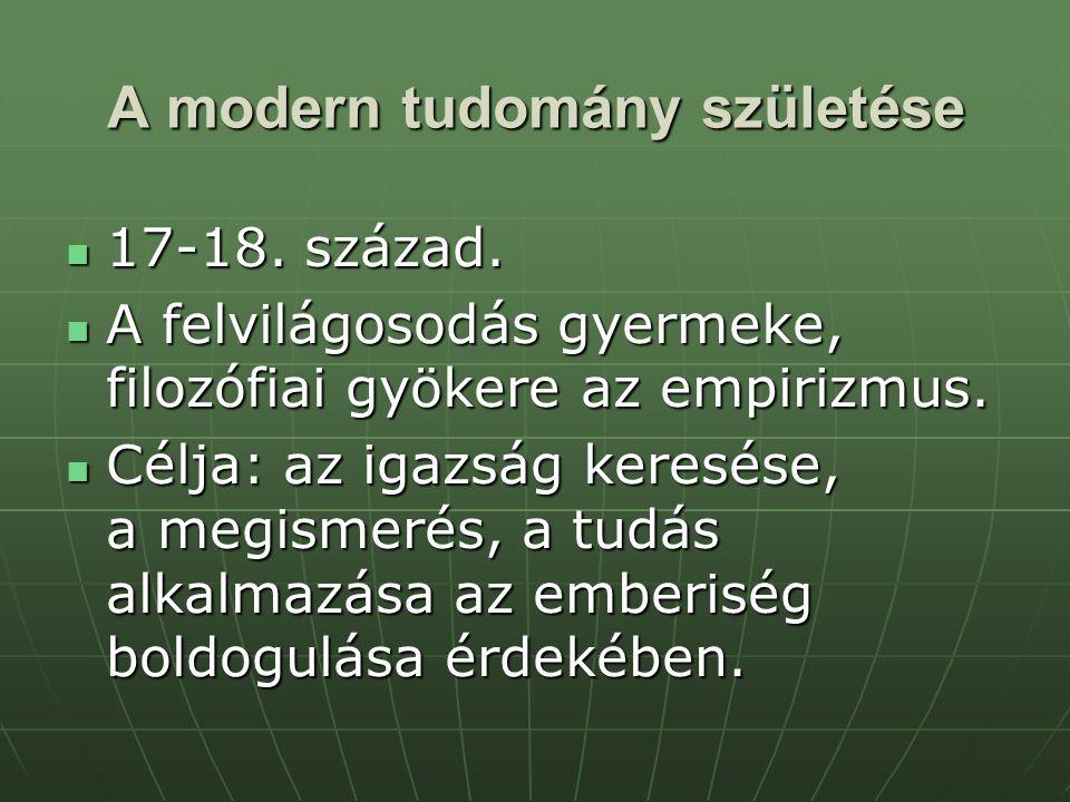 A modern tudomány születése 17-18. század. 17-18. század. A felvilágosodás gyermeke, filozófiai gyökere az empirizmus. A felvilágosodás gyermeke, filo