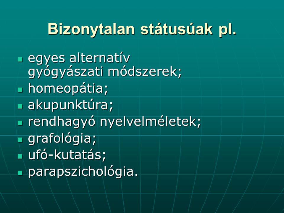 Bizonytalan státusúak pl. egyes alternatív gyógyászati módszerek; egyes alternatív gyógyászati módszerek; homeopátia; homeopátia; akupunktúra; akupunk