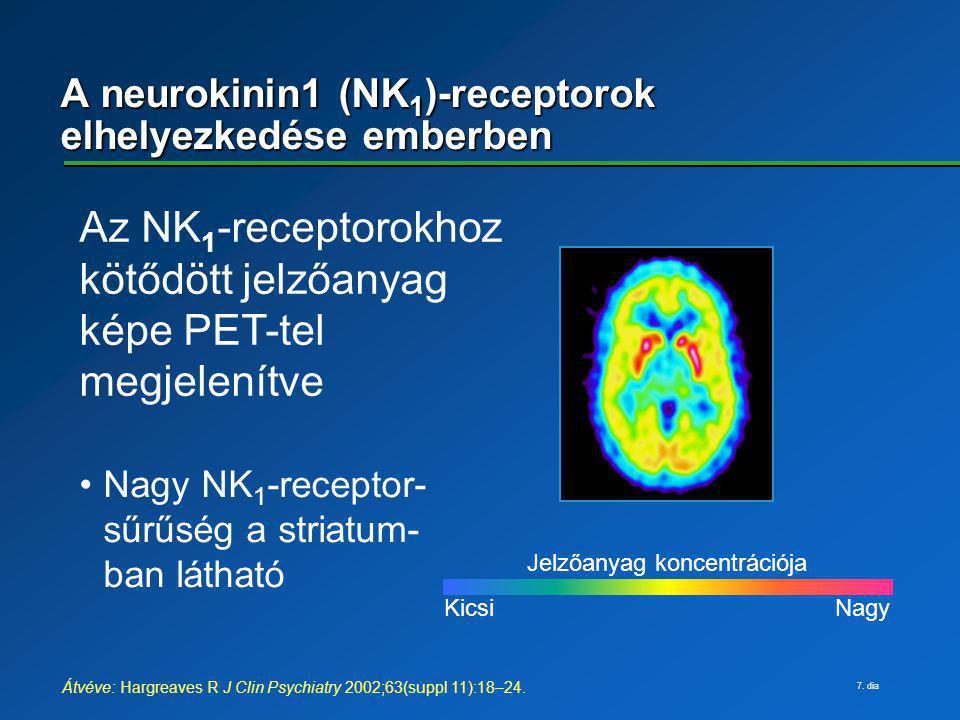 7. dia A neurokinin1 (NK 1 )-receptorok elhelyezkedése emberben Kicsi Nagy Jelzőanyag koncentrációja Az NK 1 -receptorokhoz kötődött jelzőanyag képe