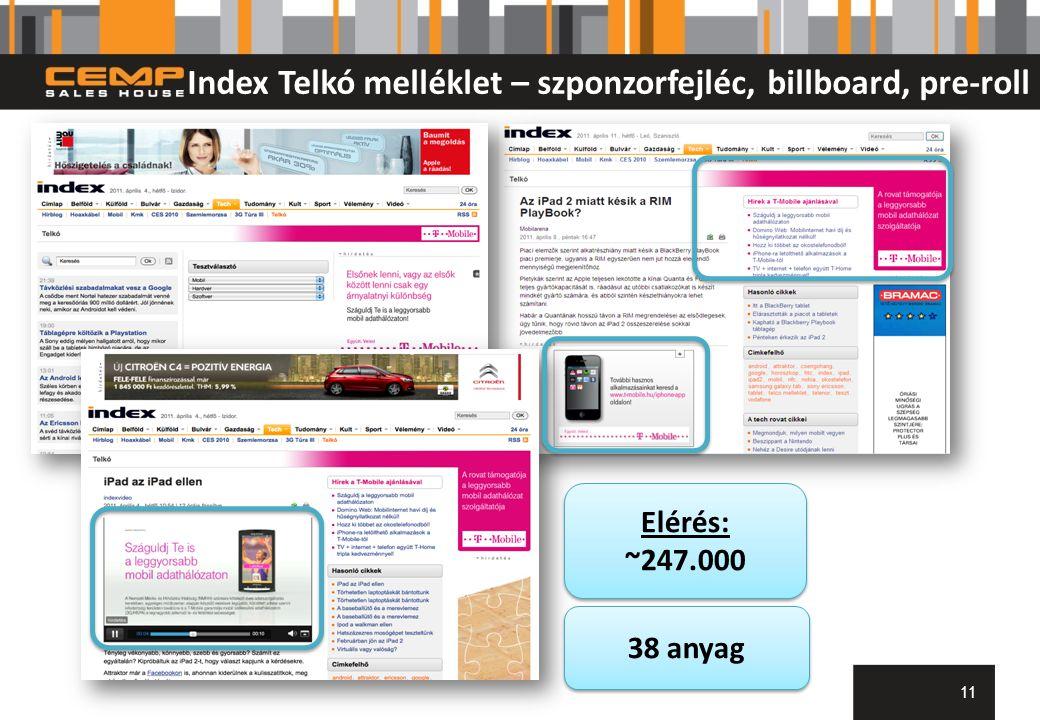 Index Telkó melléklet – szponzorfejléc, billboard, pre-roll 11 Elérés: ~247.000 Elérés: ~247.000 38 anyag