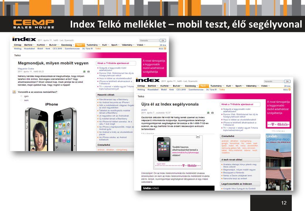 Index Telkó melléklet – mobil teszt, élő segélyvonal 12