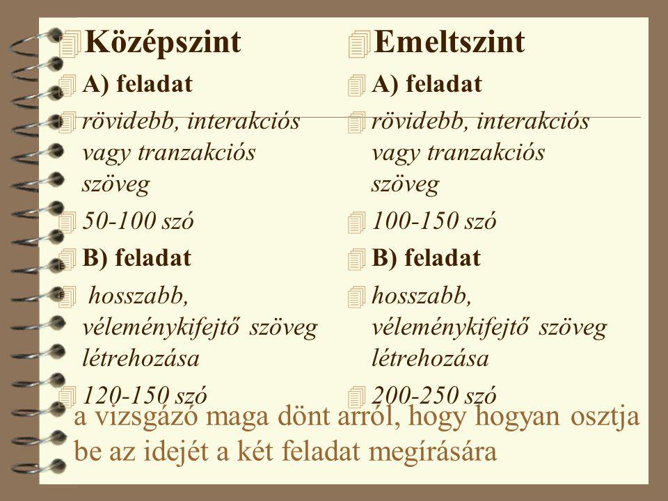 A vizsgázónak az alábbi szövegfajtákat kell létrehoznia: 4 -rövid, személyes jellegű közlés (pl. üzenet, naplóbejegyzés) 4 -üdvözlőlap 4 -meghívó 4 -m