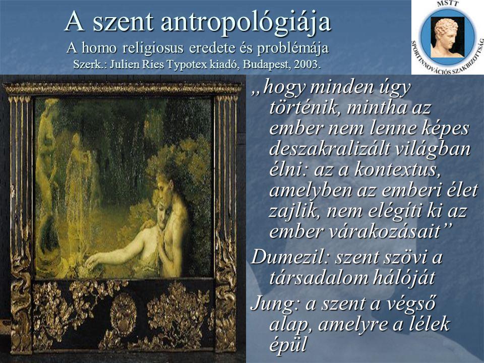 """A szent antropológiája A homo religiosus eredete és problémája Szerk.: Julien Ries Typotex kiadó, Budapest, 2003. """"hogy minden úgy történik, mintha az"""