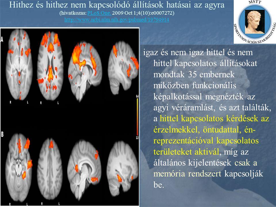 Hithez és hithez nem kapcsolódó állítások hatásai az agyra (hivatkozas: PLoS One. 2009 Oct 1;4(10):e0007272) http://www.ncbi.nlm.nih.gov/pubmed/197949