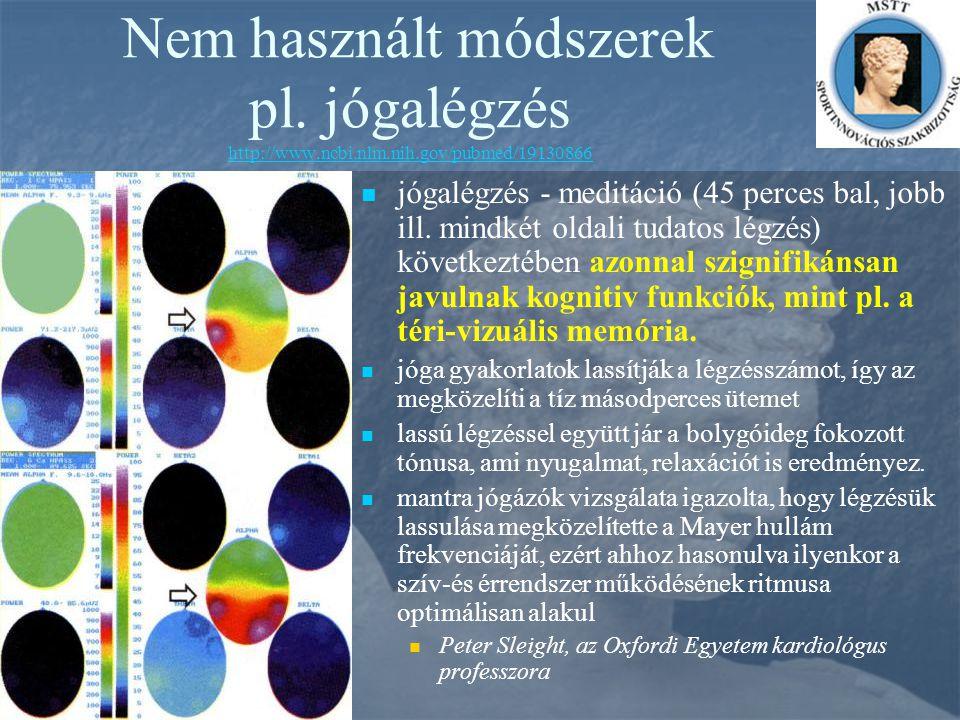 Nem használt módszerek pl. jógalégzés http://www.ncbi.nlm.nih.gov/pubmed/19130866 http://www.ncbi.nlm.nih.gov/pubmed/19130866 jógalégzés - meditáció (