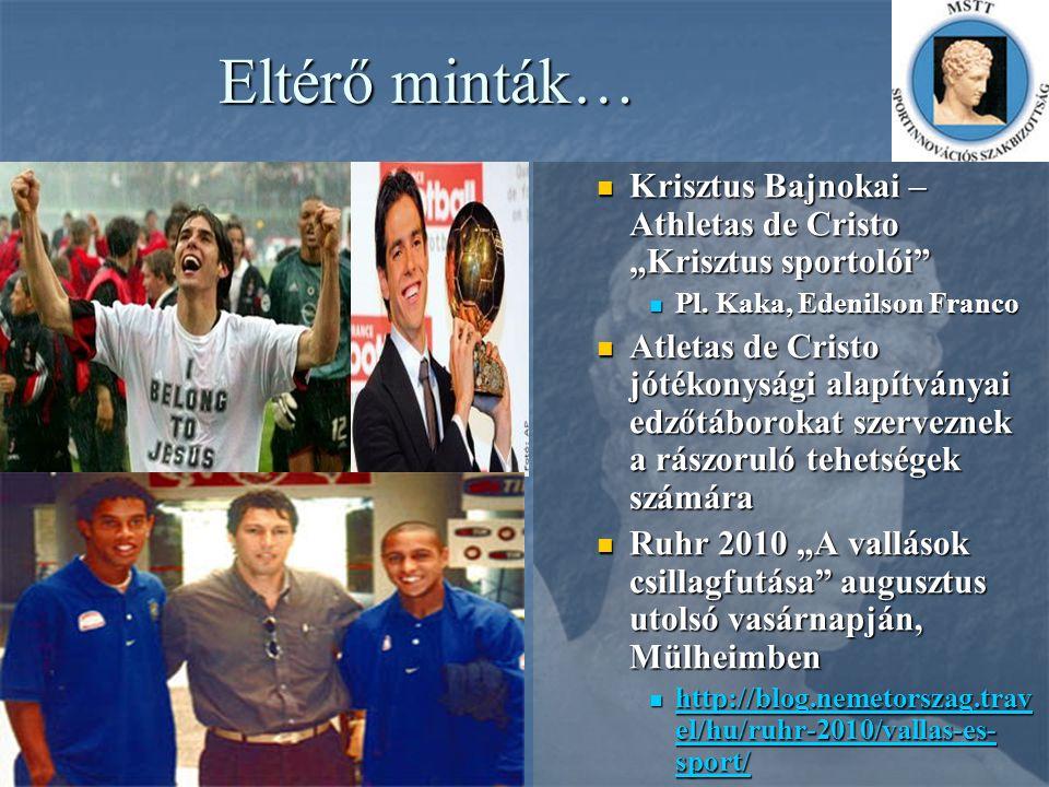 """Eltérő minták… Krisztus Bajnokai – Athletas de Cristo """"Krisztus sportolói"""" Krisztus Bajnokai – Athletas de Cristo """"Krisztus sportolói"""" Pl. Kaka, Edeni"""