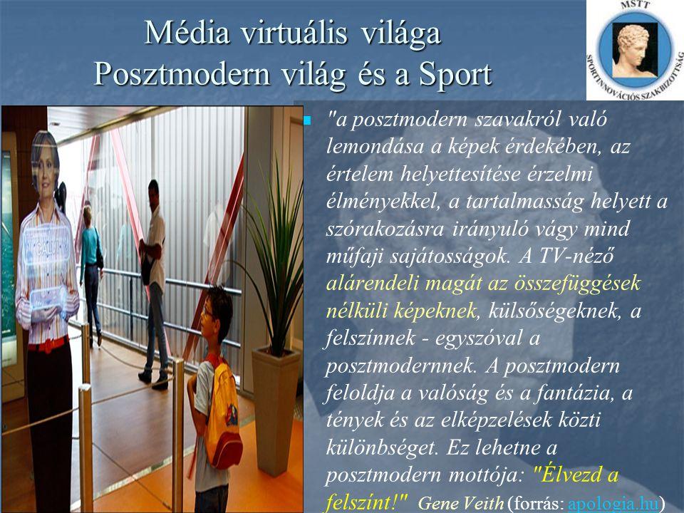 Média virtuális világa Posztmodern világ és a Sport