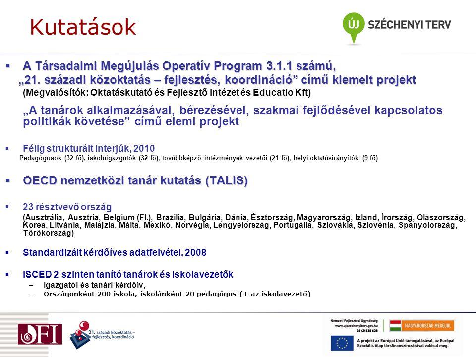 """Kutatások  A Társadalmi Megújulás Operatív Program 3.1.1 számú, """"21."""