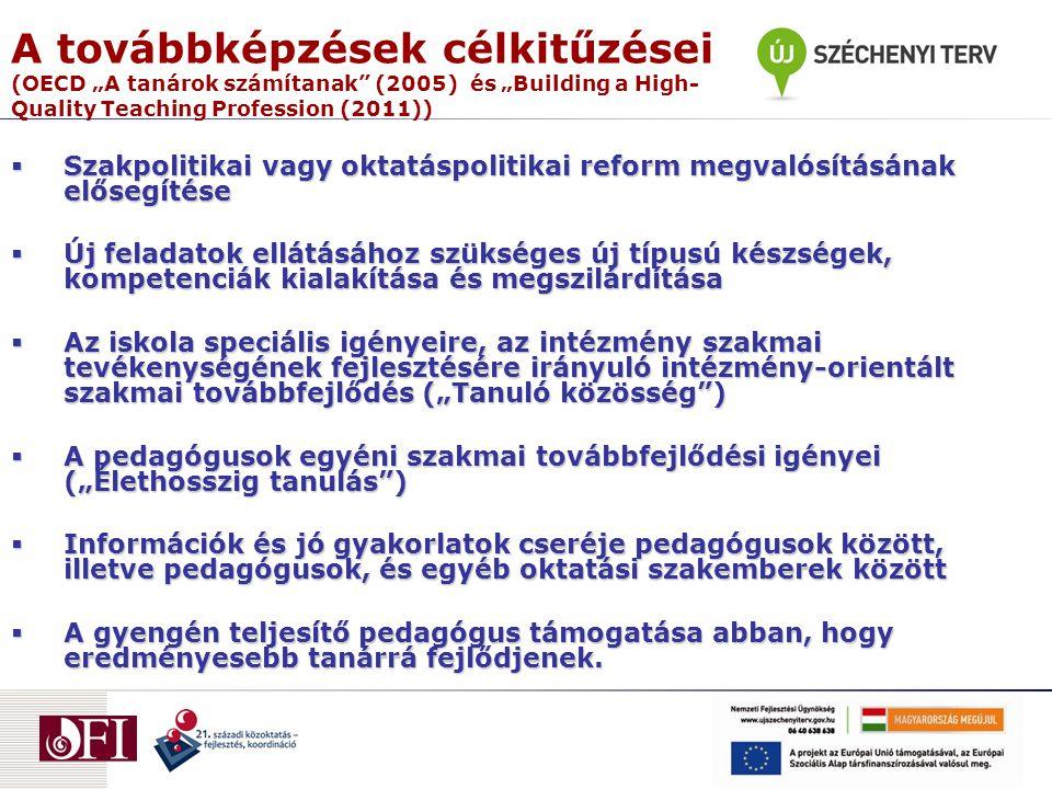 """A továbbképzések célkitűzései (OECD """"A tanárok számítanak (2005) és """"Building a High- Quality Teaching Profession (2011))  Szakpolitikai vagy oktatáspolitikai reform megvalósításának elősegítése  Új feladatok ellátásához szükséges új típusú készségek, kompetenciák kialakítása és megszilárdítása  Az iskola speciális igényeire, az intézmény szakmai tevékenységének fejlesztésére irányuló intézmény-orientált szakmai továbbfejlődés (""""Tanuló közösség )  A pedagógusok egyéni szakmai továbbfejlődési igényei (""""Élethosszig tanulás )  Információk és jó gyakorlatok cseréje pedagógusok között, illetve pedagógusok, és egyéb oktatási szakemberek között  A gyengén teljesítő pedagógus támogatása abban, hogy eredményesebb tanárrá fejlődjenek."""