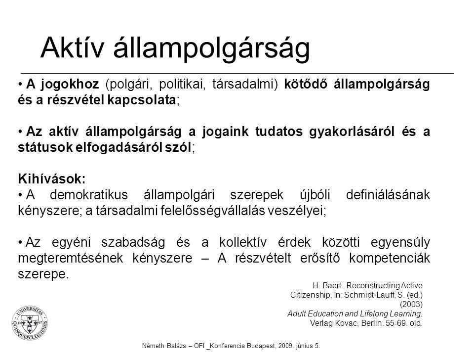Aktív állampolgárság Németh Balázs – OFI _Konferencia Budapest, 2009. június 5. H. Baert: Reconstructing Active Citizenship. In: Schmidt-Lauff, S. (ed