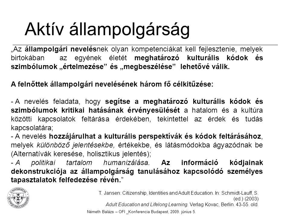 Aktív állampolgárság Németh Balázs – OFI _Konferencia Budapest, 2009. június 5. T. Jansen: Citizenship, Identities and Adult Education. In: Schmidt-La
