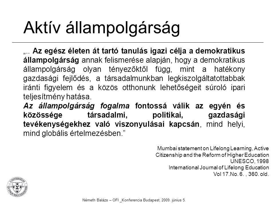 """Aktív állampolgárság Németh Balázs – OFI _Konferencia Budapest, 2009. június 5. """".. Az egész életen át tartó tanulás igazi célja a demokratikus államp"""
