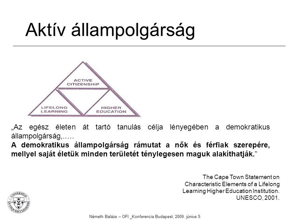 Aktív állampolgárság Németh Balázs – OFI _Konferencia Budapest, 2009. június 5. The Cape Town Statement on Characteristic Elements of a Lifelong Learn