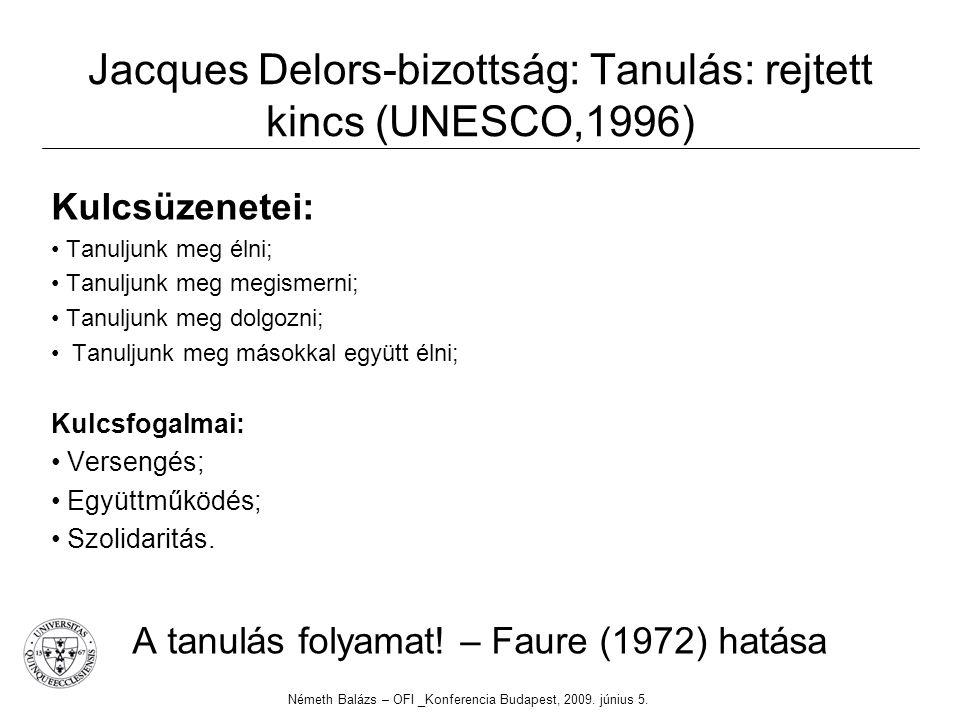 Jacques Delors-bizottság: Tanulás: rejtett kincs (UNESCO,1996) Kulcsüzenetei: Tanuljunk meg élni; Tanuljunk meg megismerni; Tanuljunk meg dolgozni; Tanuljunk meg másokkal együtt élni; Kulcsfogalmai: Versengés; Együttműködés; Szolidaritás.