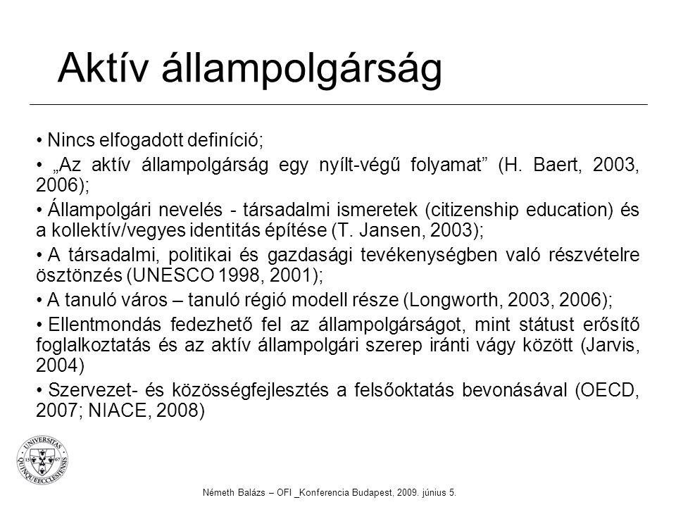"""Aktív állampolgárság Nincs elfogadott definíció; """"Az aktív állampolgárság egy nyílt-végű folyamat"""" (H. Baert, 2003, 2006); Állampolgári nevelés - társ"""