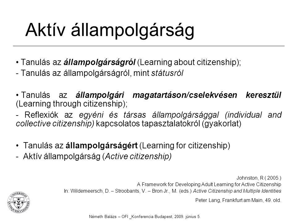 Aktív állampolgárság Tanulás az állampolgárságról (Learning about citizenship); - Tanulás az állampolgárságról, mint státusról Tanulás az állampolgári magatartáson/cselekvésen keresztül (Learning through citizenship); - Reflexiók az egyéni és társas állampolgársággal (individual and collective citizenship) kapcsolatos tapasztalatokról (gyakorlat) Tanulás az állampolgárságért (Learning for citizenship) - Aktív állampolgárság (Active citizenship) Johnston, R ( 2005.) A Framework for Developing Adult Learning for Active Citizenship In: Wildemeersch, D.