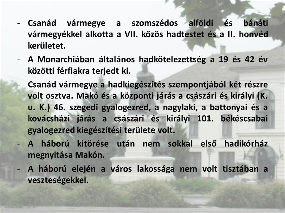 -Csanád vármegye a szomszédos alföldi és bánáti vármegyékkel alkotta a VII. közös hadtestet és a II. honvéd kerületet. -A Monarchiában általános hadkö