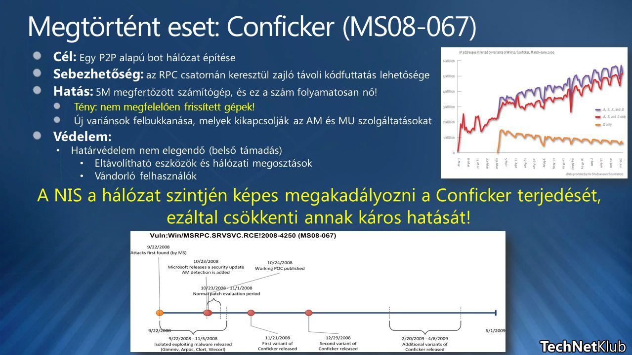 A NIS a hálózat szintjén képes megakadályozni a Conficker terjedését, ezáltal csökkenti annak káros hatását!
