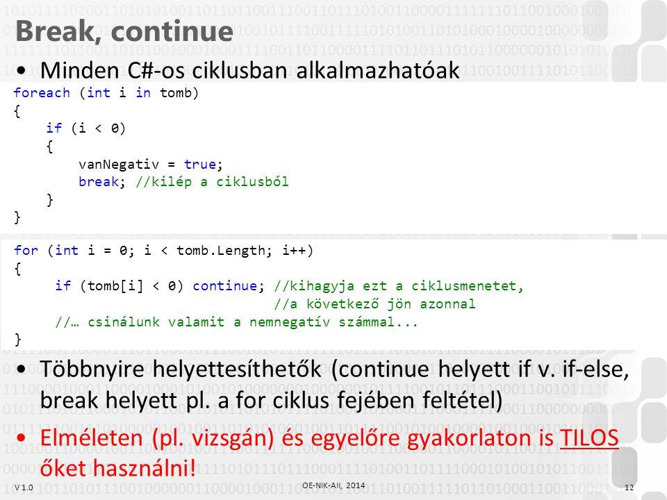 V 1.0 Break, continue Minden C#-os ciklusban alkalmazhatóak Többnyire helyettesíthetők (continue helyett if v. if-else, break helyett pl. a for ciklus