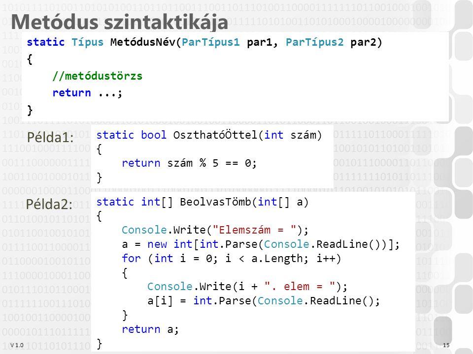 V 1.0 Metódus szintaktikája static Típus MetódusNév(ParTípus1 par1, ParTípus2 par2) { //metódustörzs return...; } OE-NIK-AII, 2014 15 Példa1: static b