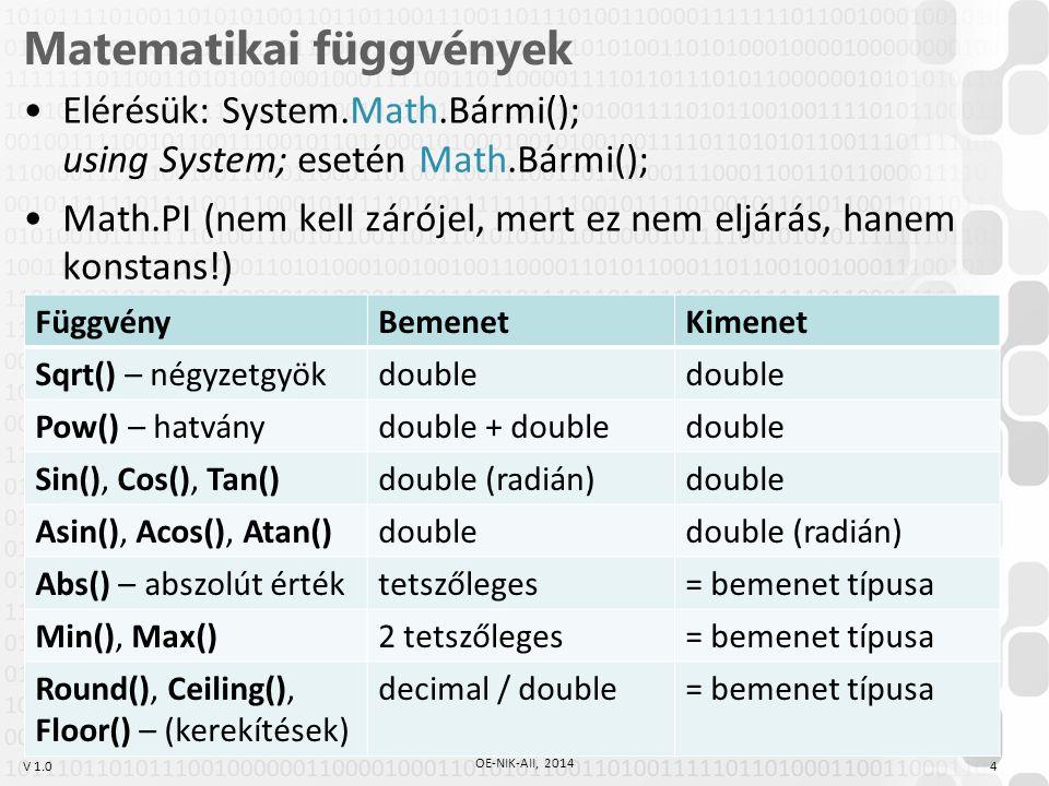 V 1.0 Matematikai függvények Elérésük: System.Math.Bármi(); using System; esetén Math.Bármi(); Math.PI (nem kell zárójel, mert ez nem eljárás, hanem k