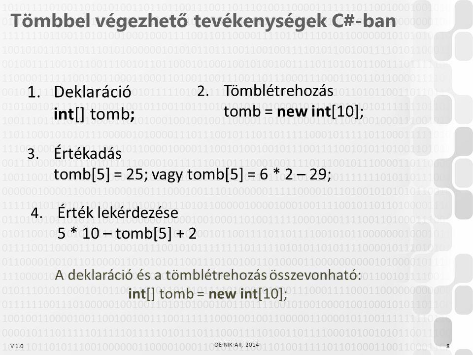 V 1.0 Tömbbel végezhető tevékenységek C#-ban 1.Deklaráció int[] tomb; 3. Értékadás tomb[5] = 25; vagy tomb[5] = 6 * 2 – 29; 4. Érték lekérdezése 5 * 1