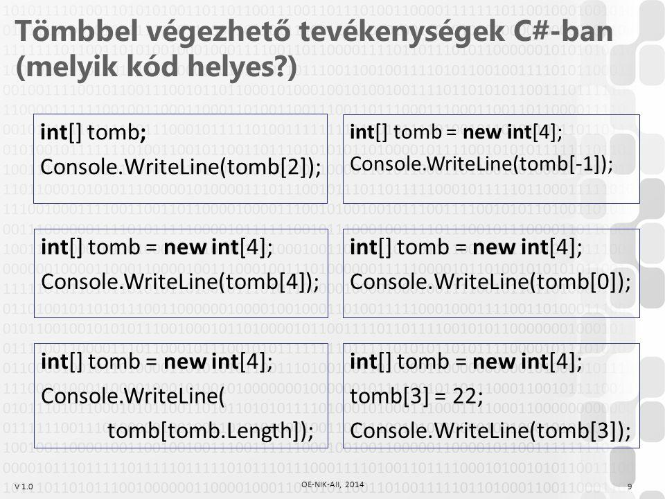 V 1.0 Tömbbel végezhető tevékenységek C#-ban (melyik kód helyes?) int[] tomb; Console.WriteLine(tomb[2]); int[] tomb = new int[4]; Console.WriteLine(t