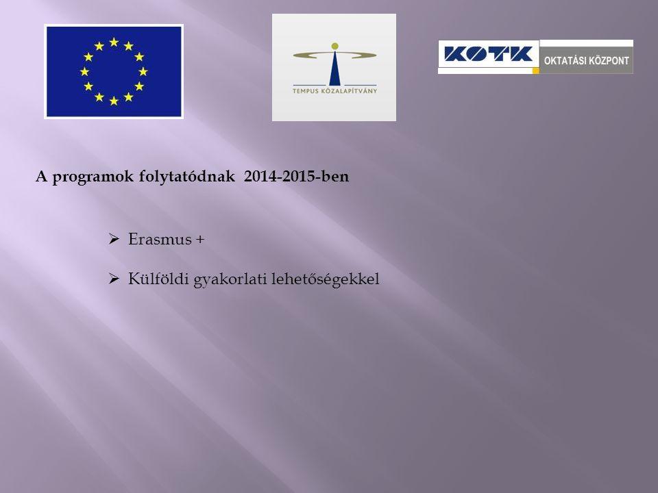 A programok folytatódnak 2014-2015-ben  Erasmus +  Külföldi gyakorlati lehetőségekkel