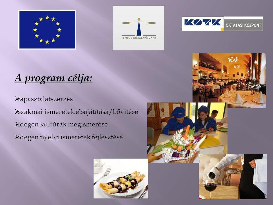 A program célja:  tapasztalatszerzés  szakmai ismeretek elsajátítása/bővítése  idegen kultúrák megismerése  idegen nyelvi ismeretek fejlesztése