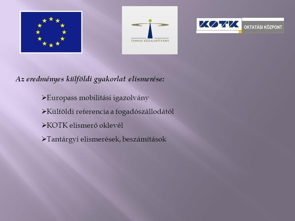Az eredményes külföldi gyakorlat elismerése:  Europass mobilitási igazolvány  Külföldi referencia a fogadószállodától  KOTK elismerő oklevél  Tantárgyi elismerések, beszámítások