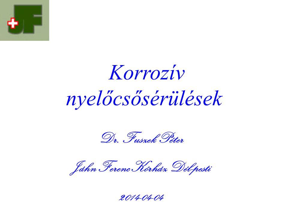 Korrozív nyelőcsősérülések Dr. Fuszek Péter Jáhn Ferenc Kórház Dél-pesti 2014-04-04