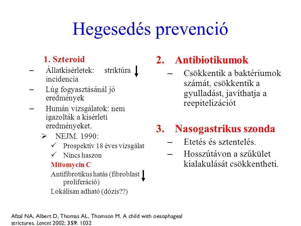 Hegesedés prevenció 1. Szteroid – Állatkísérletek: striktúra incidencia – Lúg fogyasztásánál jó eredmények – Humán vizsgálatok: nem igazolták a kísérl