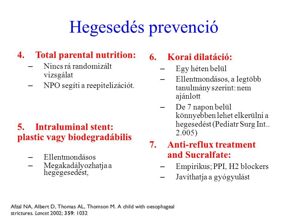 Hegesedés prevenció 4.Total parental nutrition: – Nincs rá randomizált vizsgálat – NPO segíti a reepitelizációt. 5.Intraluminal stent: plastic vagy bi