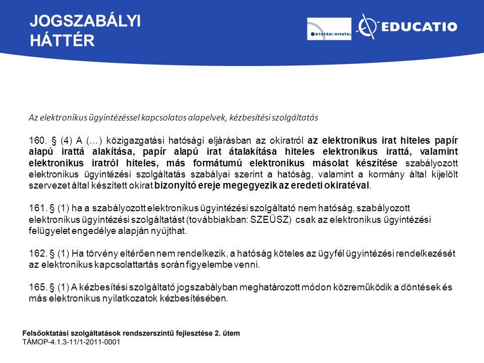JOGSZABÁLYI HÁTTÉR Az elektronikus ügyintézéssel kapcsolatos alapelvek, kézbesítési szolgáltatás 160. § (4) A (…) közigazgatási hatósági eljárásban az