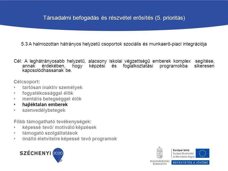 Társadalmi befogadás és részvétel erősítés (5. prioritás)Társadalmi befogadás és részvétel erősítés (5. prioritás) 5.3 A halmozottan hátrányos helyzet