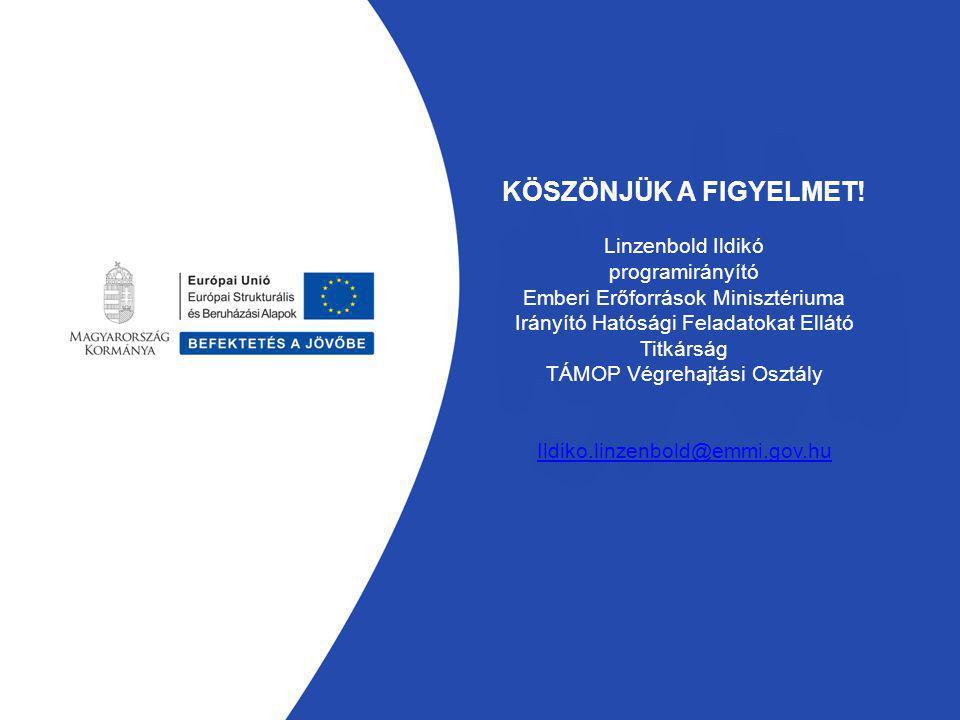 KÖSZÖNJÜK A FIGYELMET! Linzenbold Ildikó programirányító Emberi Erőforrások Minisztériuma Irányító Hatósági Feladatokat Ellátó Titkárság TÁMOP Végreha