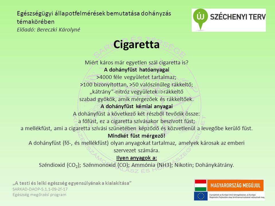 Cigaretta Miért káros már egyetlen szál cigaretta is? A dohányfüst hatóanyagai >4000 féle vegyületet tartalmaz; >100 bizonyítottan, >50 valószínűleg r