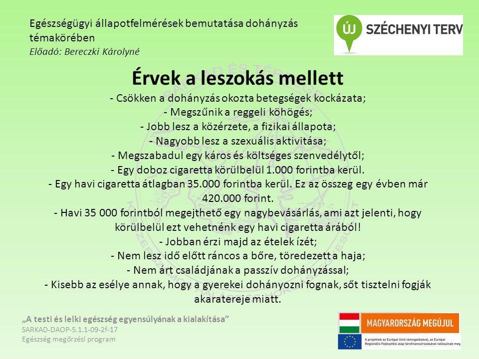Érvek a leszokás mellett - Csökken a dohányzás okozta betegségek kockázata; - Megszűnik a reggeli köhögés; - Jobb lesz a közérzete, a fizikai állapota