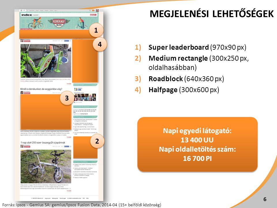 6 MEGJELENÉSI LEHETŐSÉGEK 1)Super leaderboard (970x90 px) 2)Medium rectangle (300x250 px, oldalhasábban) 3)Roadblock (640x360 px) 4)Halfpage (300x600 px) 2 2 Napi egyedi látogató: 13 400 UU Napi oldalletöltés szám: 16 700 PI Forrás: Ipsos - Gemius SA: gemius/Ipsos Fusion Data, 2014-04 (15+ belföldi közönség) 3 3 1 1 4 4